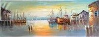 Wholesale seascape painting PALETTE KNIFE Oil Painting On Canvas bay Hand Size W40CM L120CM