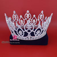 Wholesale Crowns Tiaras Rhinestone Crystal Large Full Round Gorgeous King Princess Prince Unisex Headwear Hair Ornament Bridal Pageant Queen Mo187
