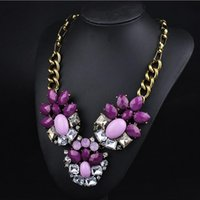 big fake gold chain - DHL Free New Fasion Exaggeration Clavicle Necklace Chains Crystal Acrylic Vintage Sweater Necklace Fake Collar Big Necklace