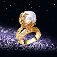 Wholesale 2016 New Flower Ring for party K Gold with cubic zircon crystal finger Ring high quality fashion jewelry Free shipment full size