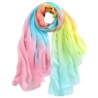 Wholesale 178X108CM Fashion Gradient Colorful Silk Chiffon Scarf Real Silk Pashmina Capes Pure Silk Hijabs Wraps Female