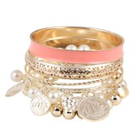 avatar copper alloys - 6 Colors Hollow Imitation Pearl Coins Element Avatar Statement Charm Multilayer Bangle and Bracelet Fashion Jewelry Women PD26