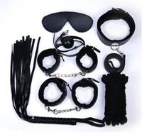 Wholesale 2016 New Arrivals Fetish BDSM Roleplay Handcuffs Whip Rope Blindfold Ball Gag Black Red Pink Slave Bondage Kit Set