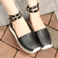 Wholesale Summer Size Plus Casual Leisure Vintage Rome Rivet Flat Comfortable Breathable Bandage Ankle Strap Espadrilles Shoes
