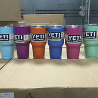 Wholesale 30 OZ YETI Tumbler Rambler Cups Large Capacity Stainless Steel Tumbler Mugs Pink Blue Light Blue Orange Purple Light Green