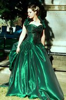 green wedding gown - Gothic Wedding Gown Dark Green Taffeta Bridal Dresses Lace up Back Vintage Plus Size Wedding Dresses Pick up Ball Gown