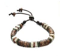 asian pottery - Men ceramic bracelet Burn pottery clay Hand woven beads hand rope The birthday gift Push and pull adjustment