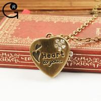 alloy pics - GR Fashion Woman s Pocket Watch Heart Shape Retro Cartoon Pendant Watch Necklace Sweater Chain pics