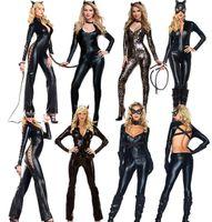 Wholesale Halloween Dress Sexy wild cat Siamese cat girl bronzing Cosplay black Catwoman Costume Party dress PVC Fetish Clubwear