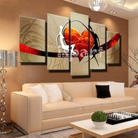 abstract heart paintings - Hand Painted decoration piece for living room couple loving Oil Painting Abstract Modern Canvas Wall Art red heart bedroom Decor Picture