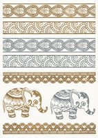 Wholesale jewellery gold elephant metallic temporary tattoo flash tattoo for woman younger people temporary tattoo style