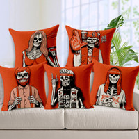 automobile prints - 180 grams of red tide thickened Skull Pattern young cotton pillow cover sofa pillow cushion for automobile