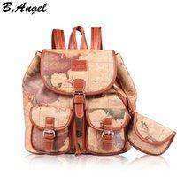 Mode vintage haute qualité monde carte sac à dos femmes sac à dos sac à dos en cuir d'impression sac à dos