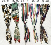 Scarf belts canada - Fashion Canada clothing accessory top sold highquality polyester silk print flower summer ladies crinkle satin bow tie scarf belt