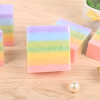 Wholesale Handmade rainbow soap face hands body washing oil soap whitening anti acne moisture cleaning Essential oil soap