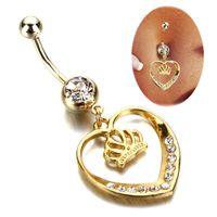 al por mayor cuerpo chicas calientes-Envío de la gota de la joyería del ombligo del anillo del botón de vientre del oro de la joyería del cuerpo del Rhinestone del encanto de la venta 10pcs