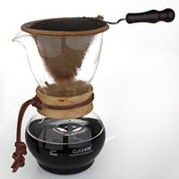 Wholesale Home Garden Kitchen Dining Bar Cooking Coffee Tea Tools ML to Servings Heat Resistant Glass Woodneck Drip Coffee Pot