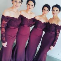 achat en gros de robes de demoiselles d'honneur de raisin-Faits sur commande de raisin Applique dentelle sirène de demoiselle d'honneur avec Sash Off-épaule manches longues élégante robe de bal Sexy Robes de soirée Robes