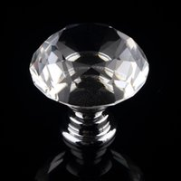 Wholesale Top Sale mm Diamond Crystal Glass Door Knobs Drawer Cabinet Furniture Handle Knob Screw