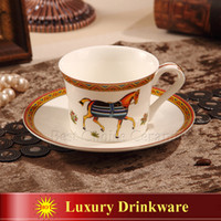 Wholesale Porcelain coffee cup and saucer bone china coffee cup the god horses design outline in gold tea cup and saucer cup and saucer