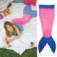 Wholesale Mermaid Tail Kids Wrap Soft Fleece Blanket New Bed snuggle in Sleeping Bag Cocoon Costume Air condition Blanket