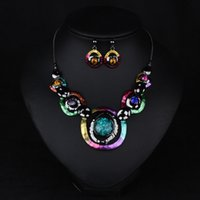 american jews - Decorative geometric gem exaggerated necklace female chain clavicle short suit autumn and winter in Europe and America dress accessories jew
