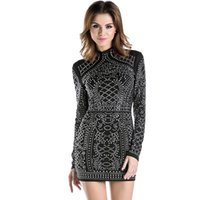 Wholesale 2016 European Sexy Geometric retro Rhinestone high necked long sleeved bodycon tight dress Autumn party dress for Women Vintage Street Style