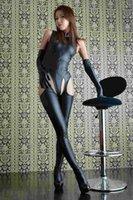 Wholesale 2015 New Hot Women Black Faux Leather Catsuit Catwomen Costume Adult Fetish Latex Bodysuit Lingerie Clubwear Free Drop Shipping