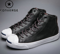 converse leather - Original Jack Purcell Shoes For Mens Women Running s Sneakers skateboarding Low High Top Leather PU Black White Size