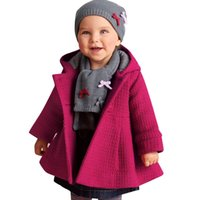 baby hooded jacket - 2016 Infant Baby Girl Winter Coats Warm Hooded Overcoat Pink Red Kids Beautiful Jacket Thick Woolen Blend Children Winter Clothing