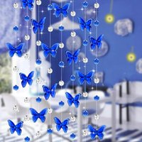 Wholesale 6 Colour Crystal Arylic Glass Bead Rope Curtain Butterfly Hanging on Screen1 Meter Beads Wedding Party Home Decorations