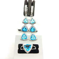 aqua gift box - Sky Blue Amethyst White Topaz Silver Wedding Jewelry Sets For Women Earrings Rings Size Free Gift Box