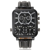 analog time - 2016 Square Luxury Men s Quartz Watches Casual Multiple Time Zone AAA Quality Leather Wristwatches V0019 Automatic Military China Watch