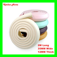 Wholesale 2M Long L shape Thickened Baby Safety Table Desk Edge Corner Cushion Guard Stripe Anti crash Protector Softener Bumper Protector
