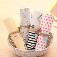 Wholesale New Design Korean Creative Cute Canvas Roll up Pencilcase School Pencil Cases For Girls Hot Stationery Kawaii Pencil Bag WZ