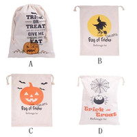 Wholesale 100 Cotton Canvas Halloween Sack Halloween Gifts bags hot sell string closure