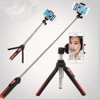 Wholesale HOT Selfie Timer Handheld Mini Tripod In Self Portrait Monopod Extendable Phone Selfie Stick With Built In Bluetooth Remote Shutter A