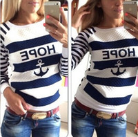 anchor blue hoodies - Hot Sales Women s Hoodies Sweatshirts Hot Anchors Striped Tracksuit Causal Ladies Blue White Patchwork Pullover Tops