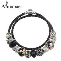 Cheap Luxury Fashion Jewelry Crown & Heart Charms Bracelets Fashion Black Crystal Diy Beads Leather Bracelet for Women Jewelry B15397