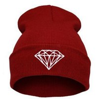beret pattern knit - Knitting Men Women Cap Diamond Pattern Beanies teens Winter Wool Hats Unisex Berets ski Hip Hop cap Christmas gift colorful drop shipping