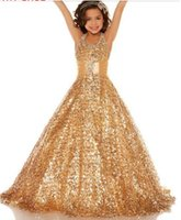 Wholesale Hot Halter Sequins Gold Ball gown Sequins Glitz pageant dresses Girl s Party Dresses fashion beautiful girl dress