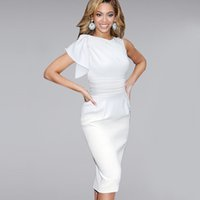 Wholesale Womens Elegant Ruffle Sleeve Ruched Party Wear To Work Fitted Stretch Slim Wiggle Pencil Sheath Bodycon Dress