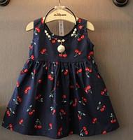 Wholesale Top Kids Summer Princess Dress Gilrs Cute Flower Cherry Pattern Halter Vest Cute Bowtie boutique clothing for Baby Dress Set