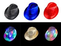 Wholesale Free DHL Sequin Caps Fedora Hats Shinning Color Fedora Hat Caps Dancing Stingy Brim Hats Mix colors LED Flashing Bling Hats E732L