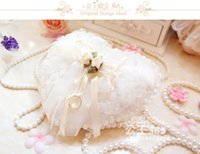 Wholesale 2016 New White Pearl Bridal Ring Pillow Satin Lace Flower Love Heart Shape Pillows Bridal Supplies Beaded Wedding Favors Box