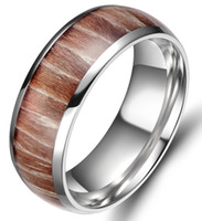 Wholesale 8mm Men Titanium Ring Wedding Band Engagement Ring Silver with Real Wood Inlay Comfort Fit Size