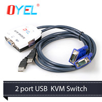 Wholesale USB Built in Cable KVM Switch P N Connect Keyboard Mouse VGA Monitor USB KVM Switches