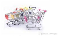 Wholesale artwares Cute Cart Mobile Phone Holder Pen Holder Mini Supermarket office Handcart Shopping Utility Cart pen Holder fashion tool