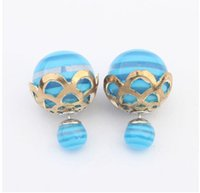 alloy receptacles - Europe and the United States simply receptacle joker stud earrings blue