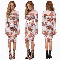 Wholesale 2016 Women Lady Female Girls Summer Spring Skirt Outfit Set Flower Printed Gauze Sheer Long Sleeve Top Tight Skirt Hot Sale Slim Figure A